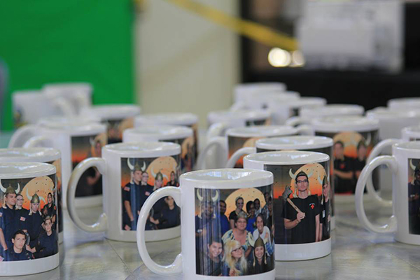 A collection of Photo Mugs ready to be picked up